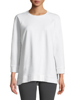 Eileen Fisher Womens White Slubby Jersey Box Top Sz L 47609