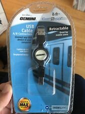 Gemini GM1200 USB Cable Retractable A/B Connectors 2.6ft