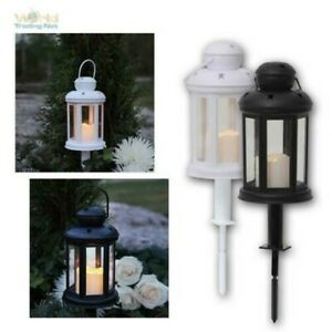 Lantern With LED Candle Flickering for Exterior,6/18h Timer,Garden Lantern,Grave