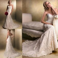 Best Beading Lace Bridal Gowns White Ivory Strapless Mermaid Wedding Dresses NEW