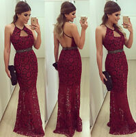 Womens Formal Prom Evening Party Cocktail Bridesmaid Wedding Long Lace Dress USA
