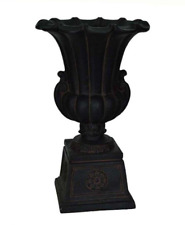 Cast Stone Urn Garden Planter on Pedestal, Aged Charcoal 16-1/4 in. x 26-1/2 in.