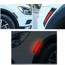 2pcs Red Car Door Edge Guard Reflective Sticker Tape Decal Safety Warning