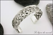 Bracelet in metal braided silver jewelry ethnic woman craft India BMBT 01