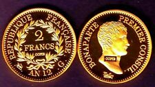 ★★ COPIE PLAQUEE OR DE L'INTROUVABLE 2 FRANCS AN 12 G GENEVE PREMIER CONSUL ★★.
