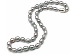 "Grey Pearl Necklace 22"" w/ Sterling Silver Clasp 8-9mm"