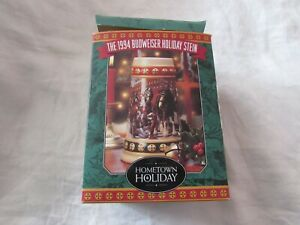 1994 Hometown Holiday Budweiser beer collector STEIN Clydesdale horses COA MIB