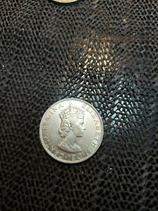 1964 Bermuda One Crown Elizabeth II circulated Silver Coin KM#14 Coin