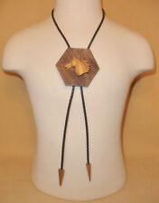 Western Leather & Wood Bolo Tie w/ Horse Head