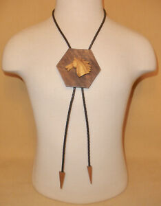 Western Leather & Wood Bolo Tie w/ Horse Head