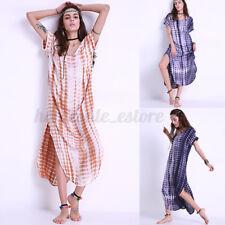 Womens Short Sleeve Tie Dye Print Kaftan Tunic Holiday Beach Long Maxi Dress US
