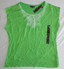 Women's Kiara Apple Green Embroidered Blouse Short Sleeve Top NWT Size Large