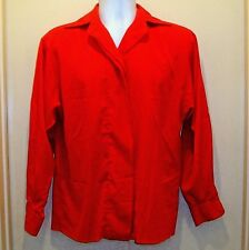 St John Womens Size 8 Red Blouse Shirt Top Long Sleeve Concealed Button Front