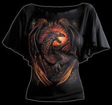 Spiral Dragon Furnace Viscose Latin Boatneck Bat Sleeve Top Gothic Metal XL