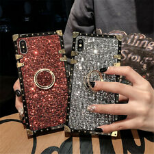 For iPhone 12 11 Pro Max XR 8 Bling Glitter Phone Ring Holder Square Case Cover