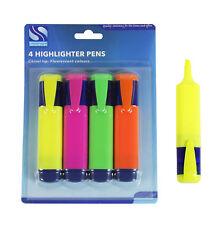 Marcadores plumas color brillante, amarillo, rosa, verde y naranja/paquete de 4
