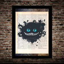 Vanishing Cheshire cat Alice in Wonderland print on dictionary page art poster