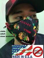 proSEWER20+yrs brand new Chicago Blackhawks face mask 3layrs filter pocket USA b
