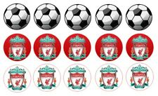 "15 x liverpool football cupcake toppers 2"" wafer or icing sheets Edible Uncut"
