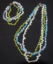 Multi-Colours 3 Strand Freshwater Pearls & Turquoise Necklace & Bracelet