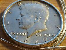 "1985 Perfect Kennedy Half 50cPendant w// 28/"" White Gold Filled Herringbone Chain"