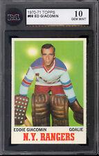 1970-71 TOPPS HOCKEY CARD #68 ED GIACOMIN KSA 10 GEM MINT N Y NEW YORK Rangers