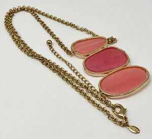 Chico's New Pink and Peach Cut Glass Pendant Necklace