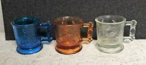 DEGENHART STORK & PEACOCK Childs Mugs lot of 3 Cobalt blue amber & clear