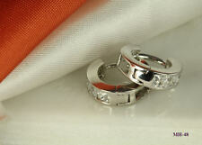 925 STERLING SILVER CZ HUGGIE HINGED HOOP 4 STONES CZ ROUND EARRINGS ~MH48~BL