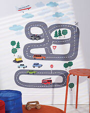 Transportation Wall Play Peel N Stick Cars Truck Road Decals Town Boys Removable
