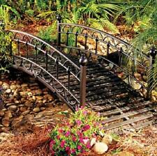 Outdoor Black Metal 4 Foot Garden Bridge Lawn Landscaping Decor