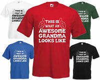 Awesome Grandma T Shirt Mothers Day Gift Grand Xmas Present Nanny Birthday Tee H