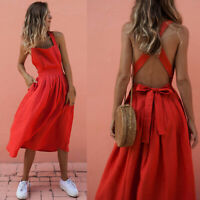 Womens Bandage Backless Long Maxi Dress Summer Beach Evening Party Swing Dresses