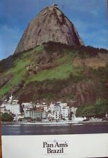 PAN AM AIRWAYS AIRLINES BRAZIL RIO DI JANEIRO Vintage Travel poster 1985 28x42