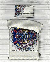 Indian Elephant Mandala Singel Duvet Quilt Cover Bedding Ethnic Boho Blanket Set