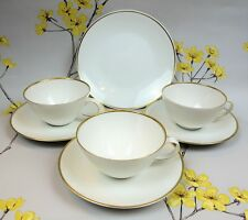 "Modern Rosenthal ""Classic Gold"" TEA SET of 3 cups/saucers & 1 plate."