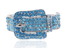 Vogue Belt Buckle Silver Toned Blue Zircon Sapphire Rhinestone Bracelet Bangle
