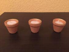 Restposten 100 x 3er Set Miniaturkerzen in Terracotta Blumentopf,