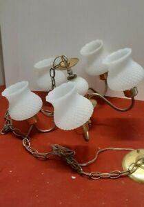 Vintage 5 arm chandelier  light pendant ceiling  light white hobnail brass color