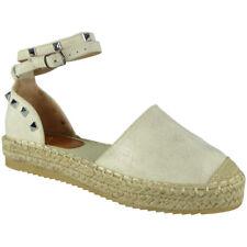 Womens Ladies Studded Ankle Strap Espadrilles Shoes Flatform Summer Sandals Size