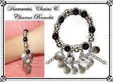 ~CHUNKY DIAMANTES, CHAINS & CHARMS CHARM BRACELET~Black & Silver~STRETCH