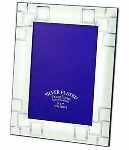 """Two Tone Silver Photo Picture Frame 4x6"""", 5x7"""", 6x8"""" & 8x10"""""""
