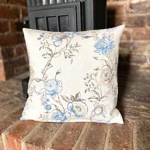 1133. Handmade Blue flowers, 100% linen cushion cover, Various sizes