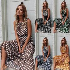 Women Summer Maxi Dress O Neck Sleeveless Casual Dress Wave Point A-line Dress