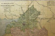 1898 ORIGINAL COUNTY MAP CUMBERLAND NORTH WESTMORLAND CARLISLE WIGTON LONGTOWN
