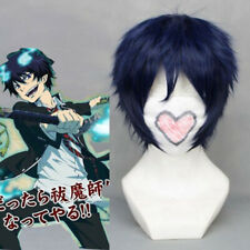 Ao no Blue Exorcist Okumura Rin Blue Short Cosplay Hair Wig + Wig Cap