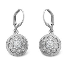 Round D/VVS1 Drop Dangle Earrings 14k White Gold Over 925 Sterling Silver