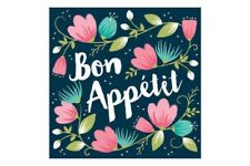 BON APPETIT LUNCH NAPKINS BLUE FLORAL FRENCH PARIS PARTY TABLE DECORATION DAY IN