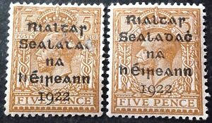Ireland 1922 2 x 5d yellow brown stamps mint hinged