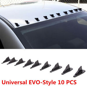 10 Pcs Car EVO Style PP Roof Shark Fins Spoiler Wing Kit Vortex Generator Black